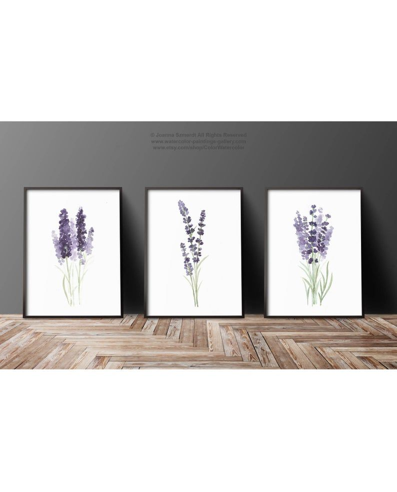 Lavender Set 3 Watercolor Art Prints Canvas Painting Etsy In 2020 Flower Painting Canvas Wall Art Prints Living Room Flower Painting