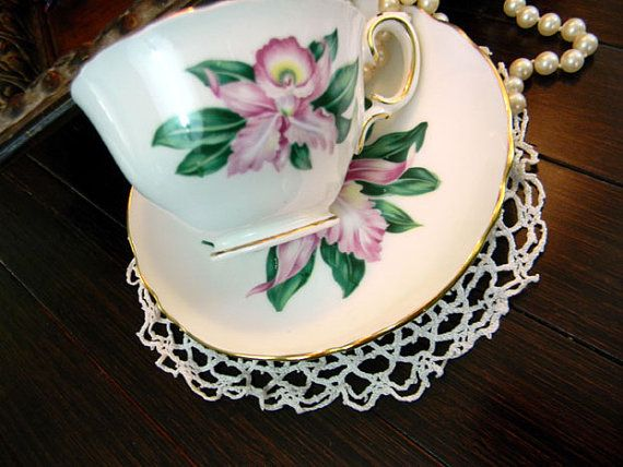 Crown Staffordshire Footed Teacup Tea Cup and by TheVintageTeacup