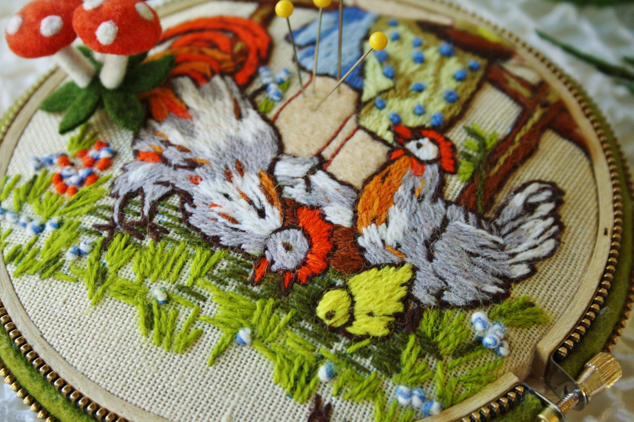 https://flic.kr/p/dfLF3E | Embroidery based on Hummel illustrations | Love these chickens... I added a few woolly mushroom pins to this pincushion. This has been hand embroidered .