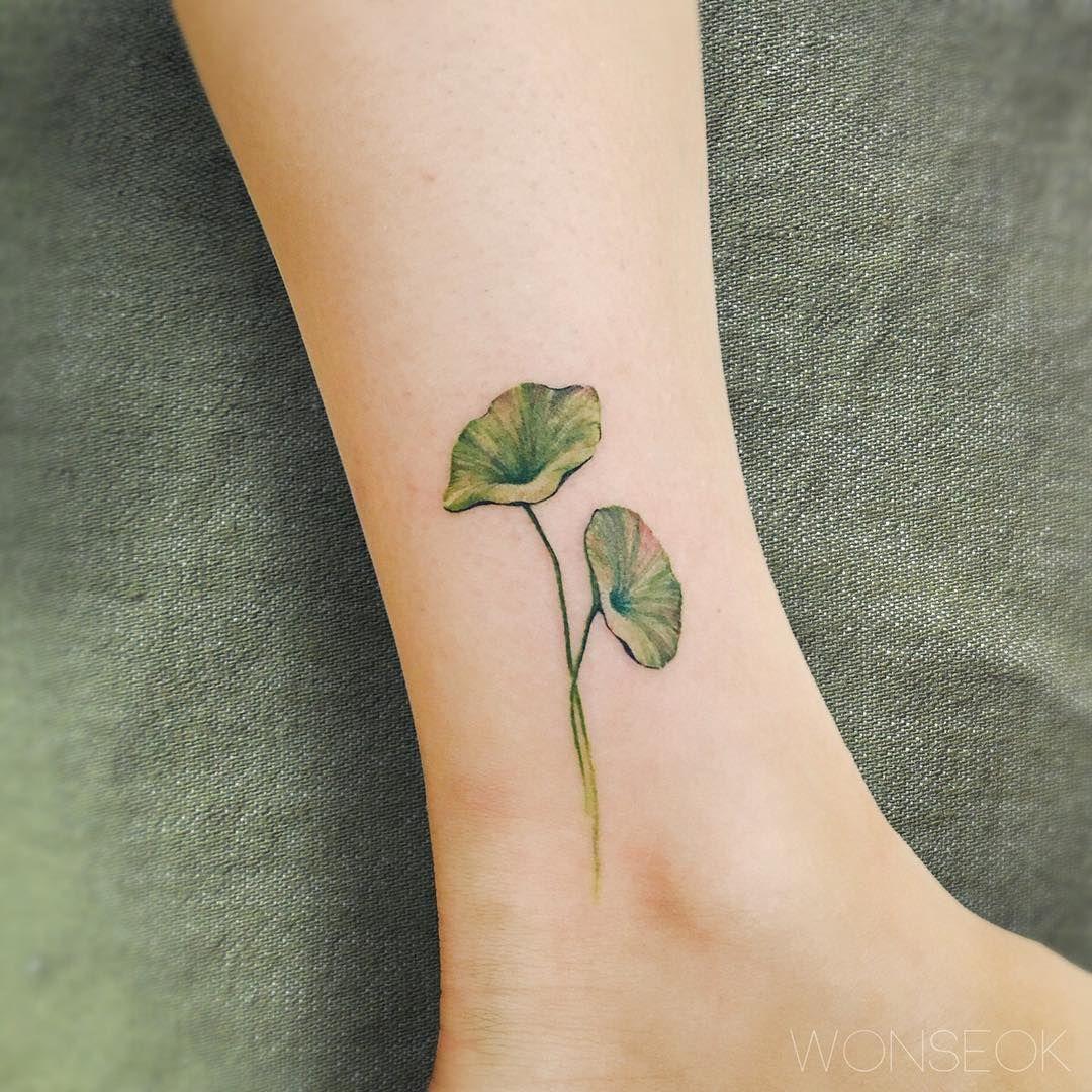 ∥Lotus leafs on ankle.∥연꽃잎∥ . . . . illust tattoo 연꽃타투