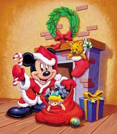 Babbo Natale Walt Disney.Mickey Mouse Christmas By John Hom Mickey Mouse Donald Duck And