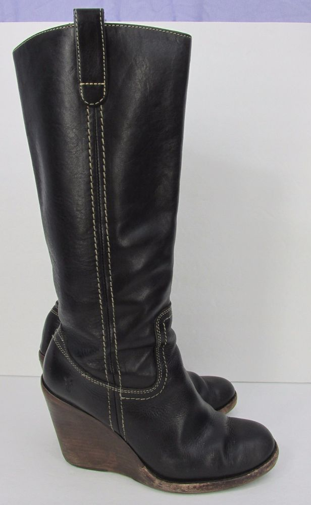 8013662ceaa4 FRYE Caroline Campus Black Pebbled Leather Wedge Boots Womens Size 7 M  Frye   PlatformsWedges  Casual