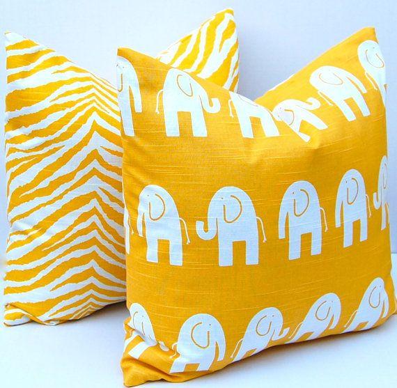 Decorative Pillows Children Decor Bright Yellow Animal Pillow Covers Accent Nursery 20 X