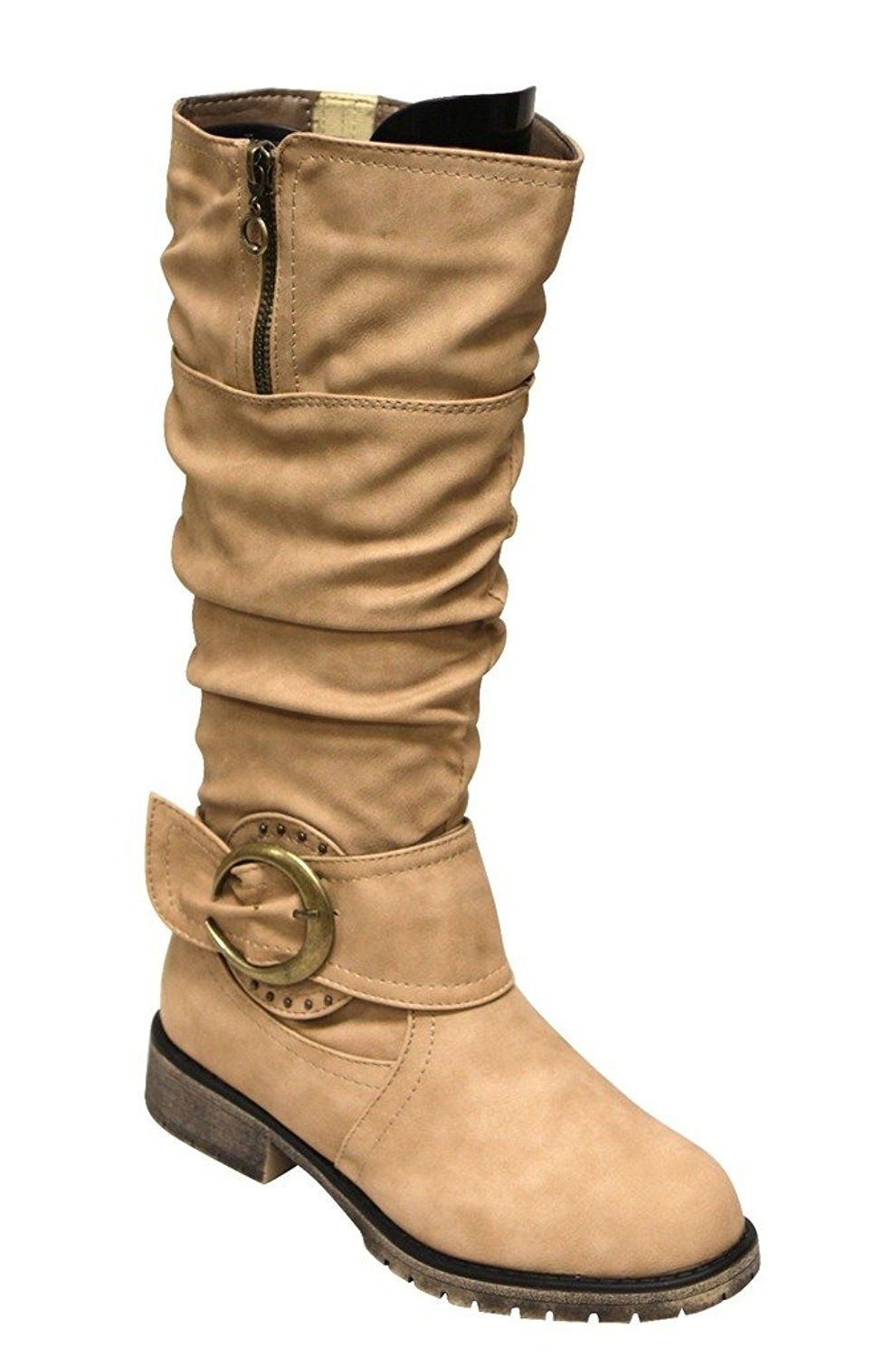 cabd2255464 Top Moda Ham-2 Women s Round toe bead buckle ankle strap slouchy side zips  mid-calf PU boots    Read more reviews of the product by visiting the link  on the ...