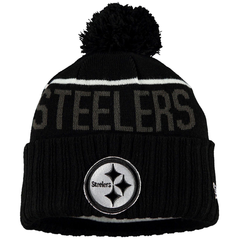 694fcbc95 Men s Pittsburgh Steelers New Era Black Black   White Sport Cuffed Knit Hat
