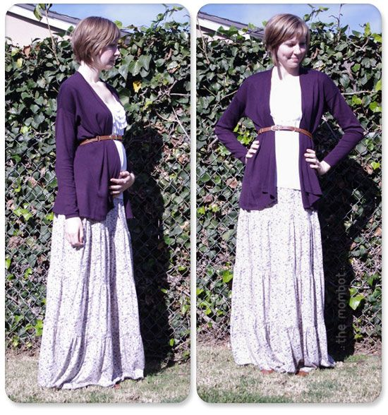 Maxi-skirt with belted cardigan  pregnant 9b03cb636c