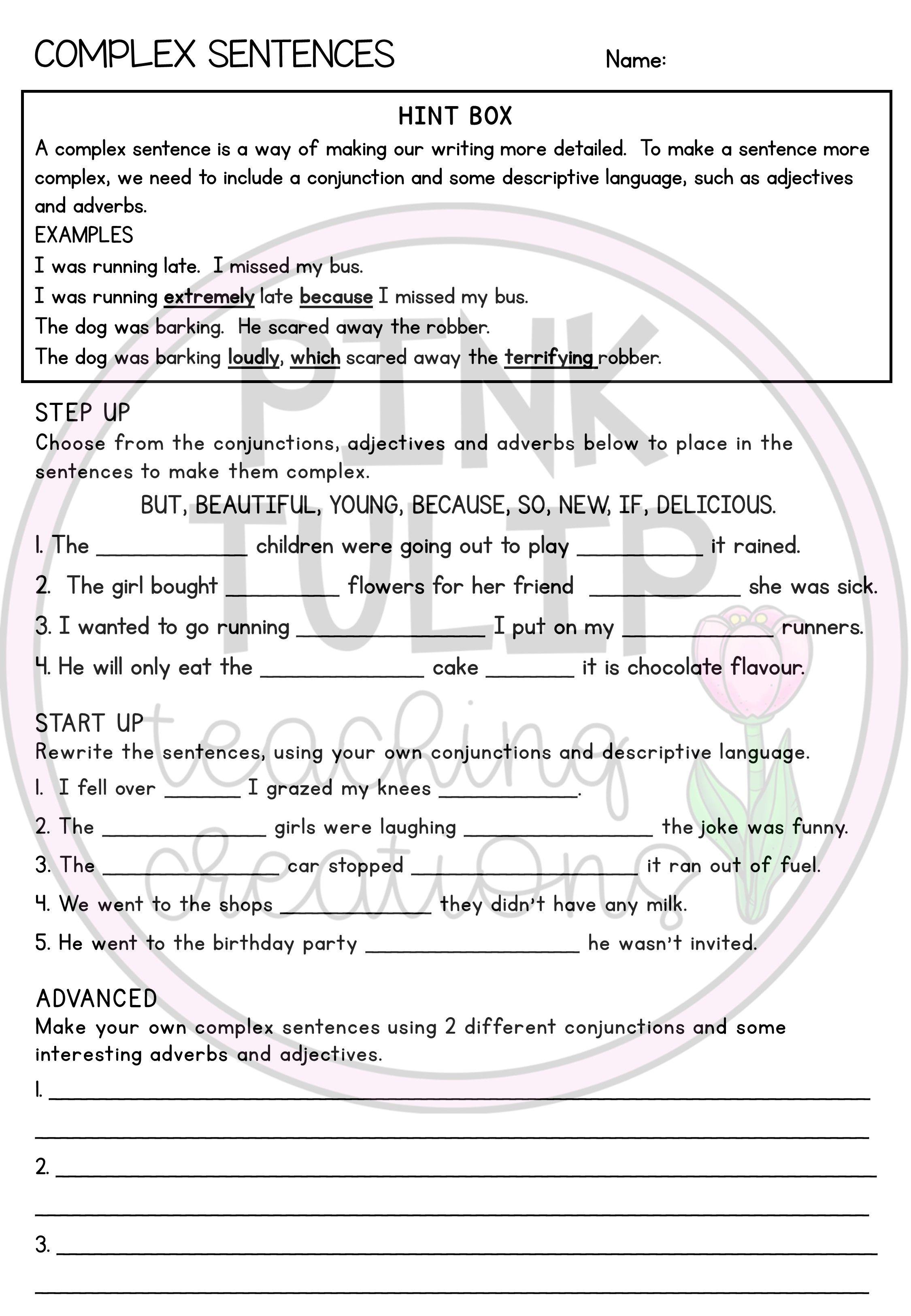Grammar Worksheet Pack Complex Sentences Grammar Worksheets Complex Sentences Worksheets