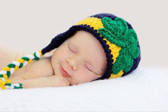 d70af65a091 Notre Dame Inspired Crochet Shamrock Hat   Earflap Hat   Fighting Irish    Sitter Session   Child Hat