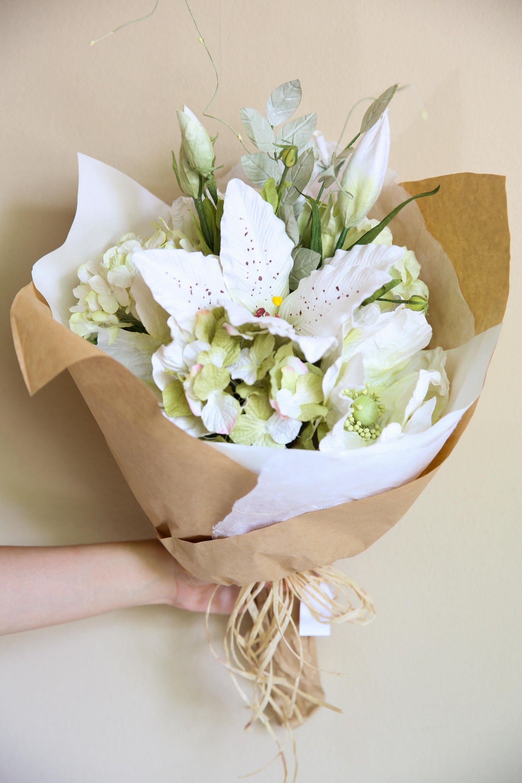 White Paper Flower Bouquet Flower Power Pinterest Flower