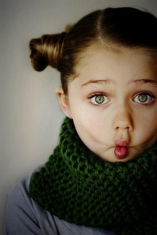 Young cute girls with green eyes
