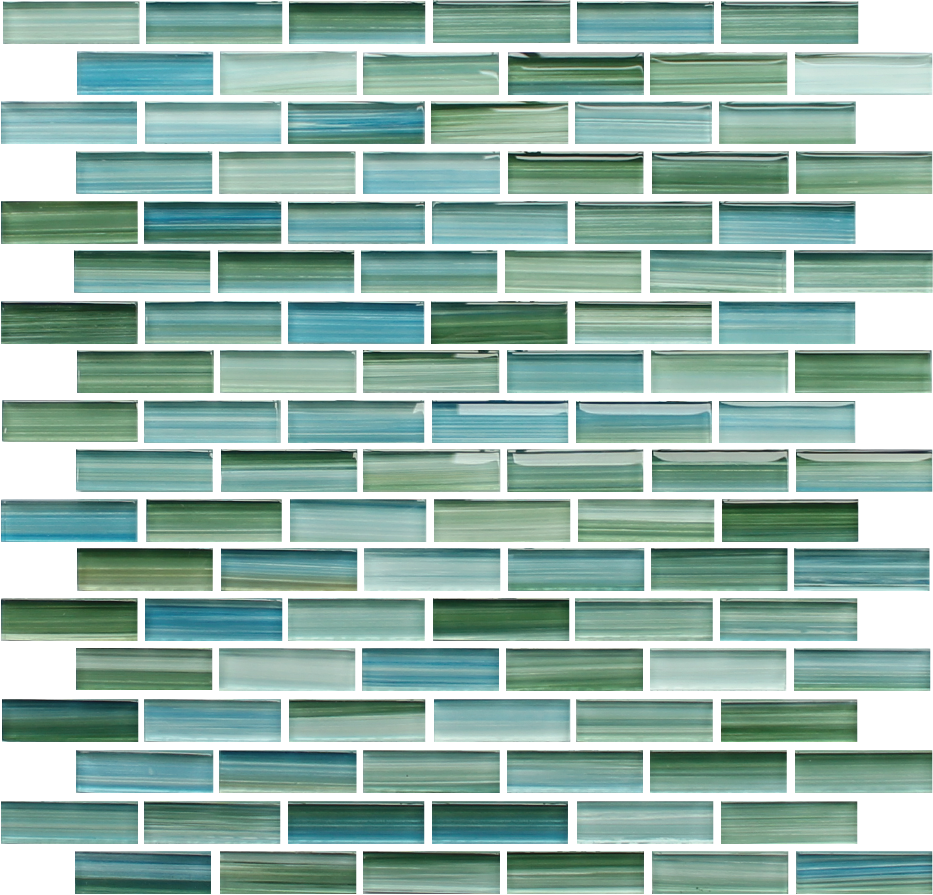 rip curl green and blue hand painted glass subway mosaic tiles