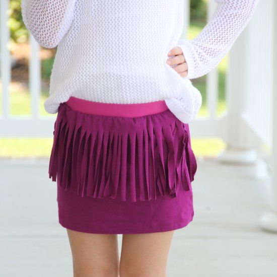 How to make an easy fringe skirt for the tween in your life, upcycling an old T Shirt. Super easy sewing craft project.