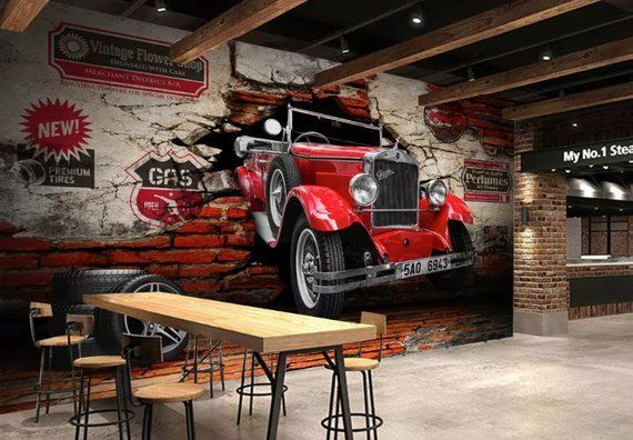 Vintage Car Wallpaper Classic Car Wall Mural Industrial Home Decor Cafe Design L…
