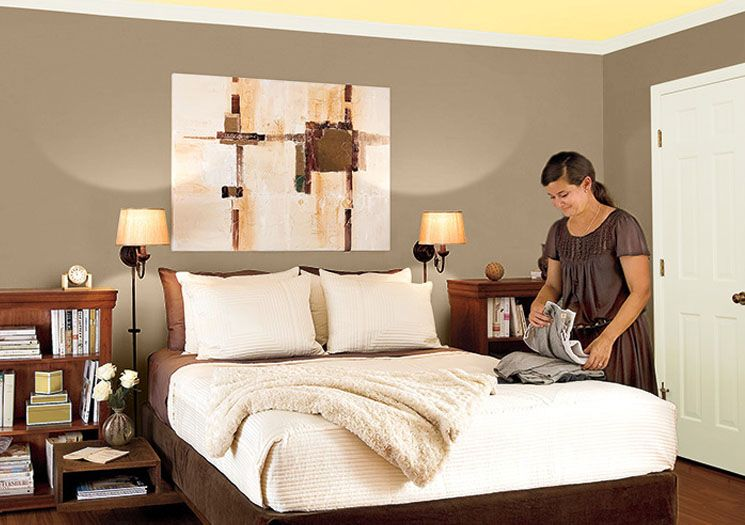 inspiring master bedroom paint color schemes | Paint Inspiration at Lowe's: Hot Stone by Valspar | Guest ...