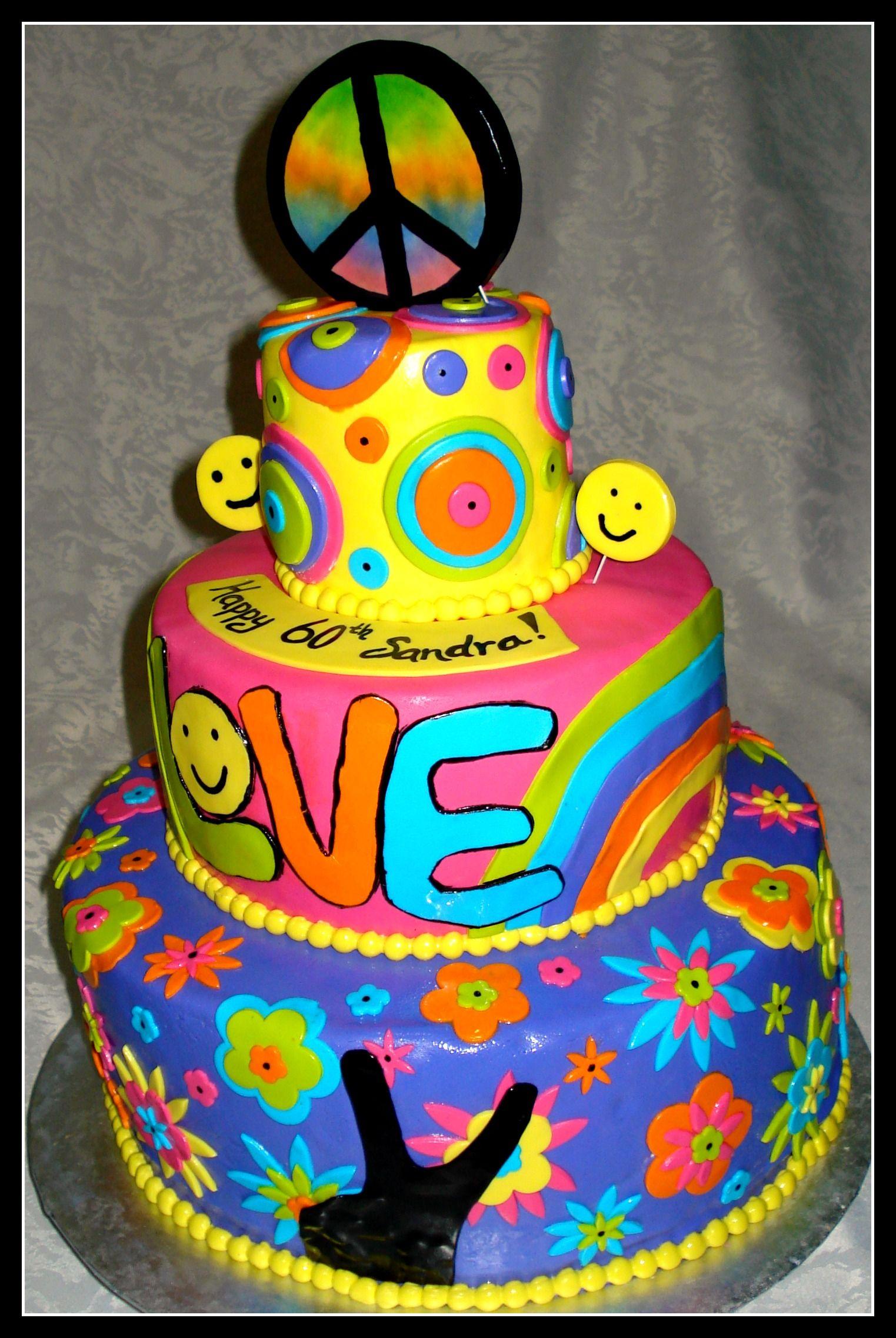 Awe Inspiring Groovy Birthday Cake Cake Hippie Cake Cupcake Cakes Personalised Birthday Cards Cominlily Jamesorg