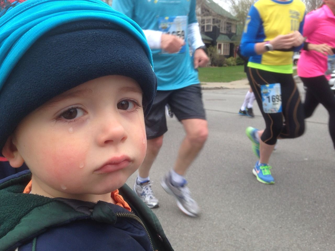 Mommy wouldn't carry him on her 13.1 mile run.
