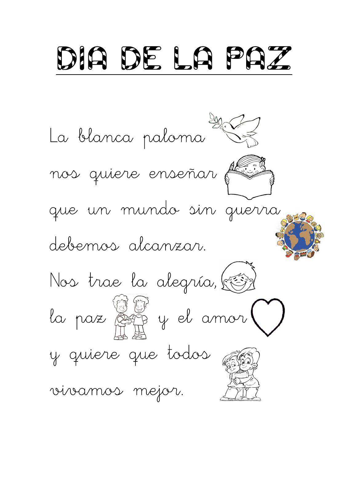 Poesia Dia De La Paz Para Niños Buscar Con Google Dia De