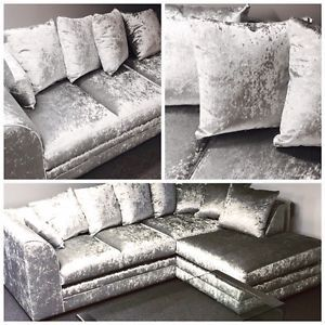 The Wandsworth Left Or Right Corner Sofa 3 2 Seater Silver Crushed Velvet Crushed Velvet Living Room Corner Sofa Velvet Living Room