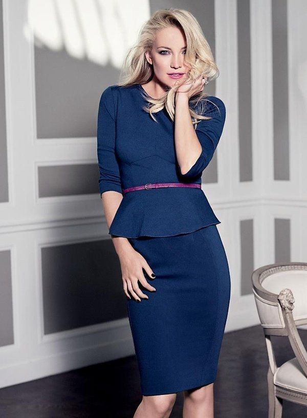 Kate Hudson for Ann Taylor Fall 2012 Ad Campaign - May have to look into buying this... Gorgeous color, pencil skirt and 3/4 sleeves.  Only thing I *don't* like is the peplum...