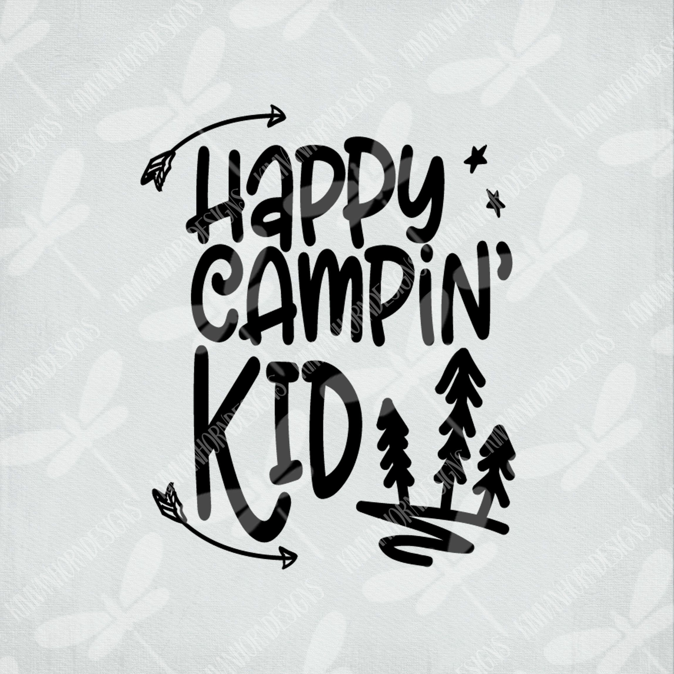 Camping SVG / Happy Campin' Kid / Cut Files For Cricut