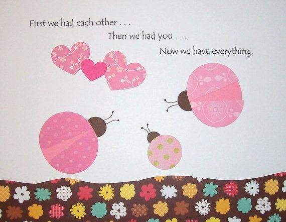 Sweet little ladybugs in pink and brown - Baby Girl Room Decor Kids Wall Art Children's by vtdesigns on Etsy, $14.00