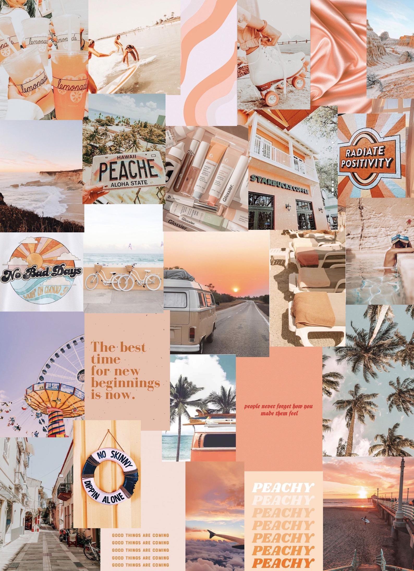 Peach Beach photo art collage pack