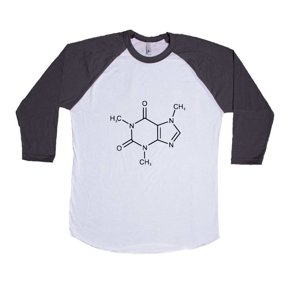 84b86380d Caffeine Molecule Molecules Coffee Cafe Energy Science School Pun Puns Play  On Words Funny Unisex Adult T Shirt SGAL3 Baseball Longsleeve Tee