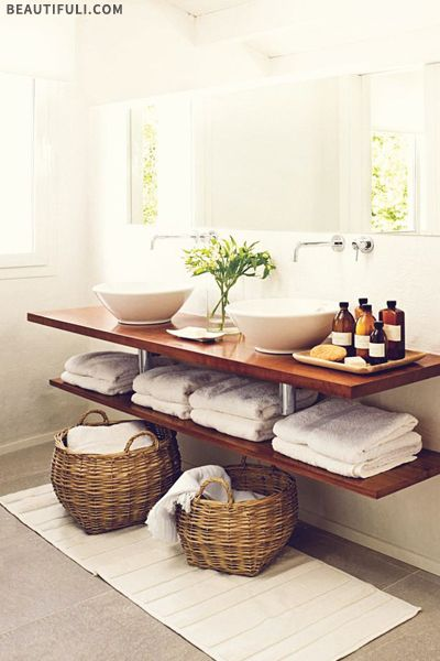 How To Style Your Bathroom Wood floating shelves, Vessel sink and