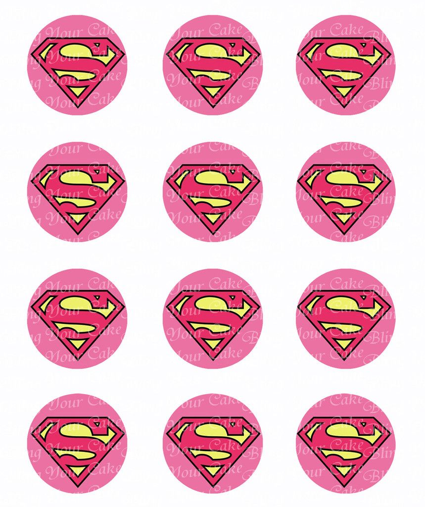 Supergirl Logo Inspired Edible Icing Cupcake or Cookie Decor Toppers