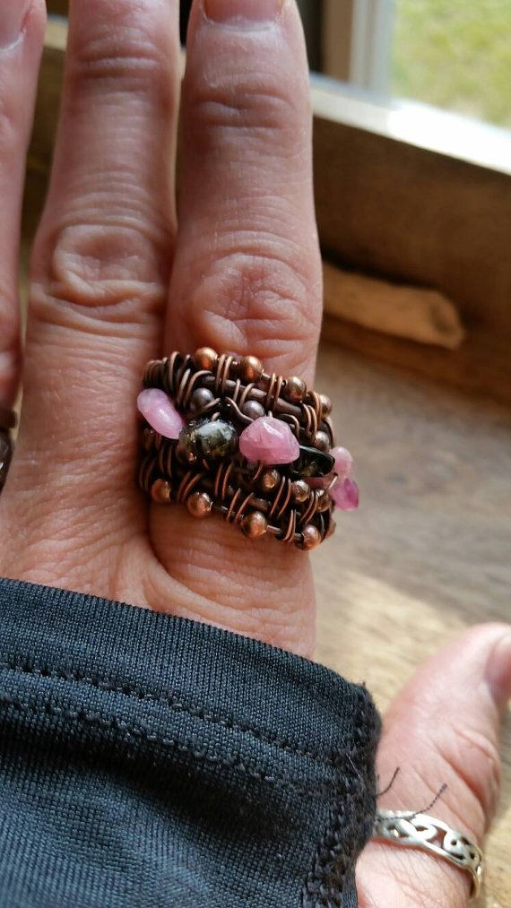 Beautiful Tourmaline beaded Copper Antiqued ring size 8, wide band ring, copper beaded ring, Healing stones, Statement ring, multistone ring