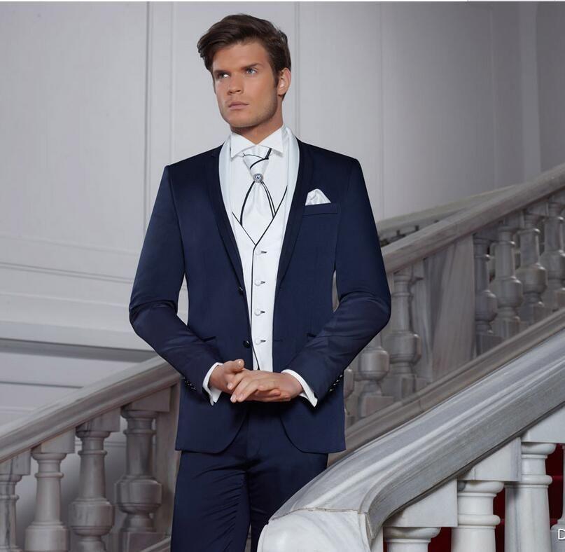 2017 Latest Coat Pant Design Navy Blue Italian Men Suit Slim Fit 3 ...