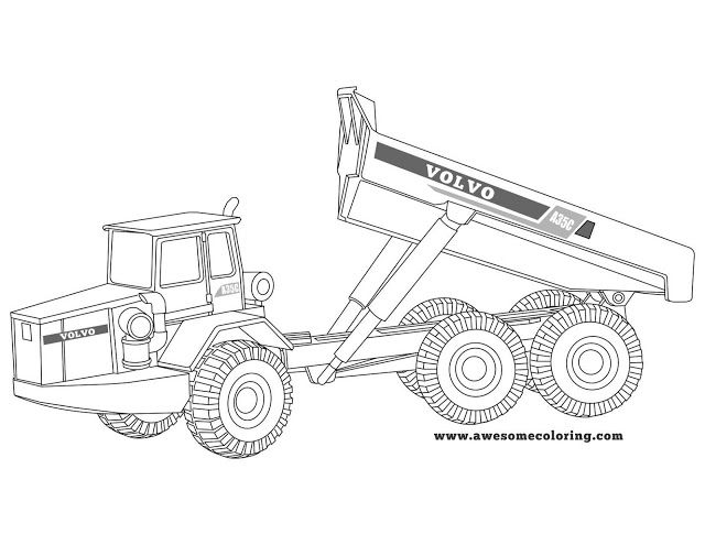 Volvo articulated truck coloring page. Download or print