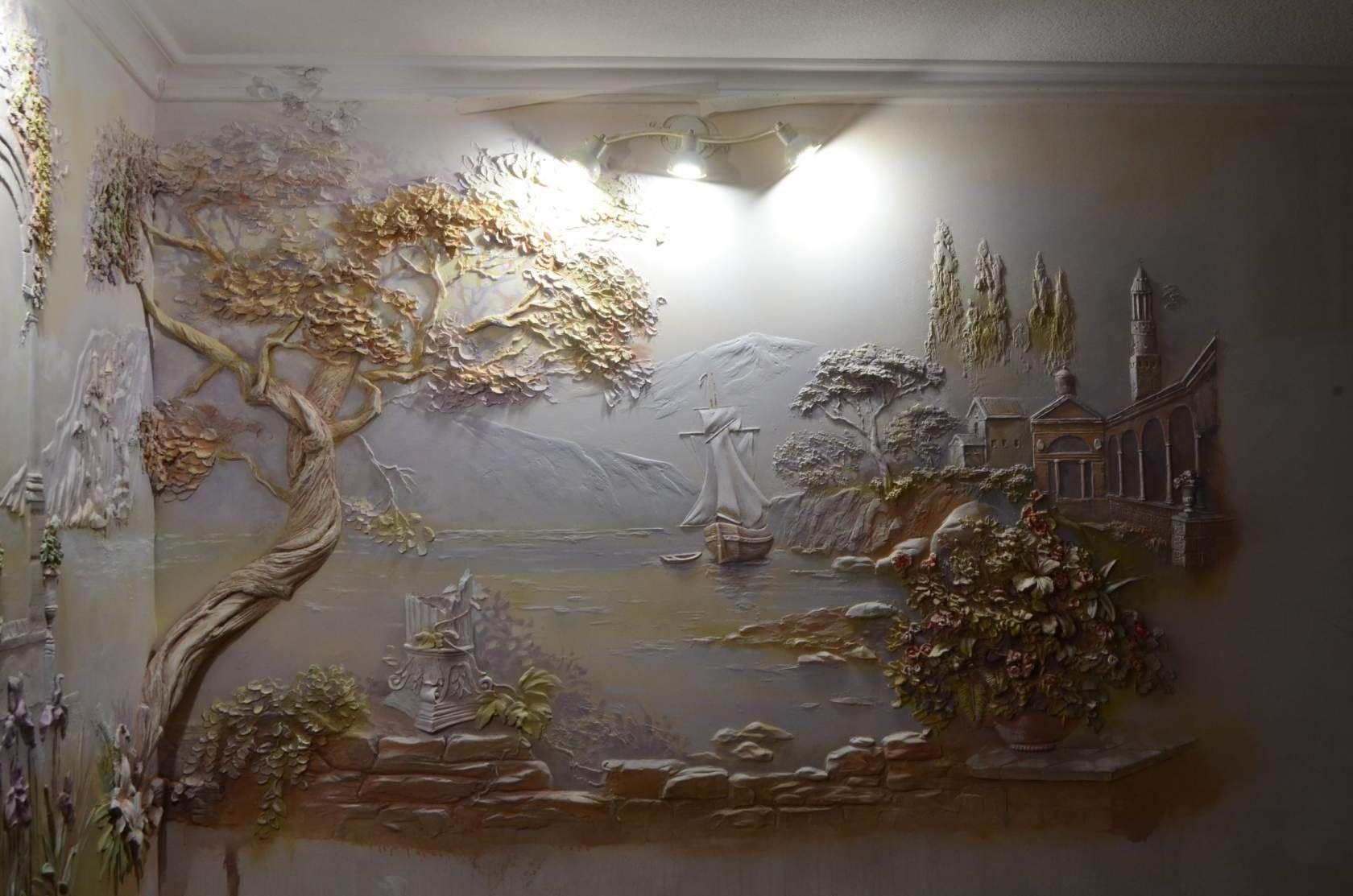 Художественная лепка на стенах своими руками фото