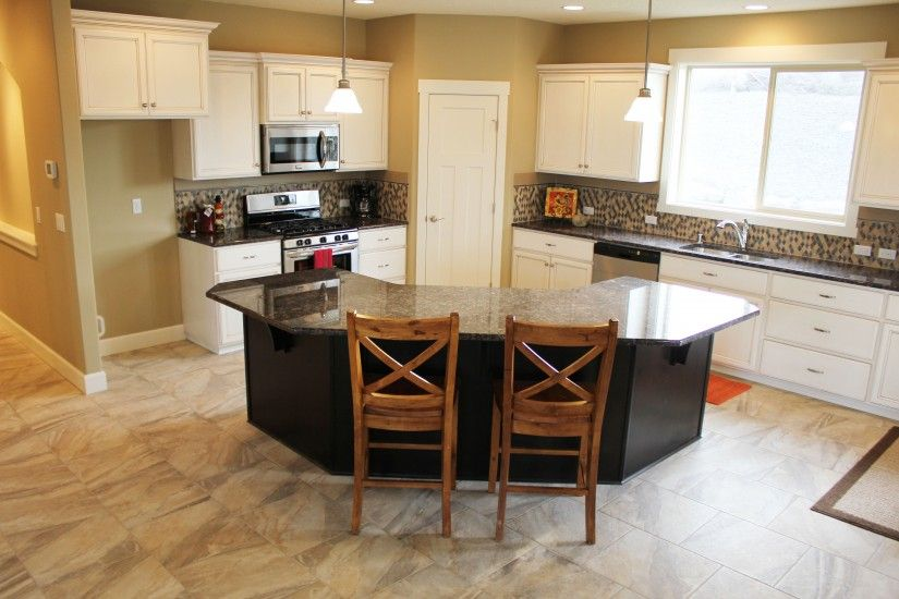 angled kitchen island designs Generous kitchen with angled-island