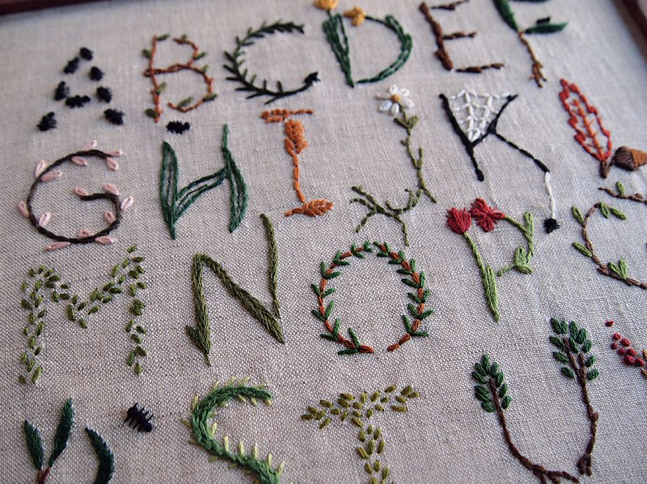 embroided alphabet