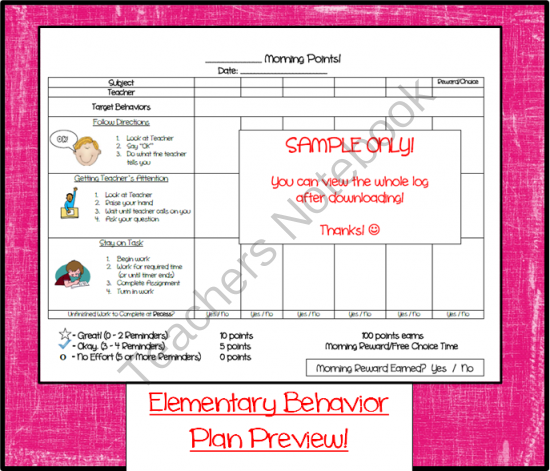 Teachers Notebook  Professional    Behavior Log