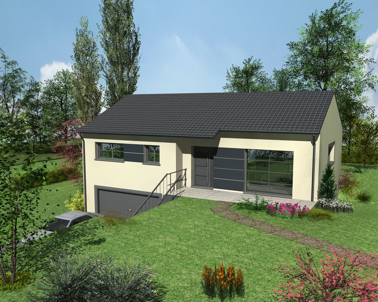 Angèle design est un modèle de maison de style contemporain avec menuiseries grises sur sous sol