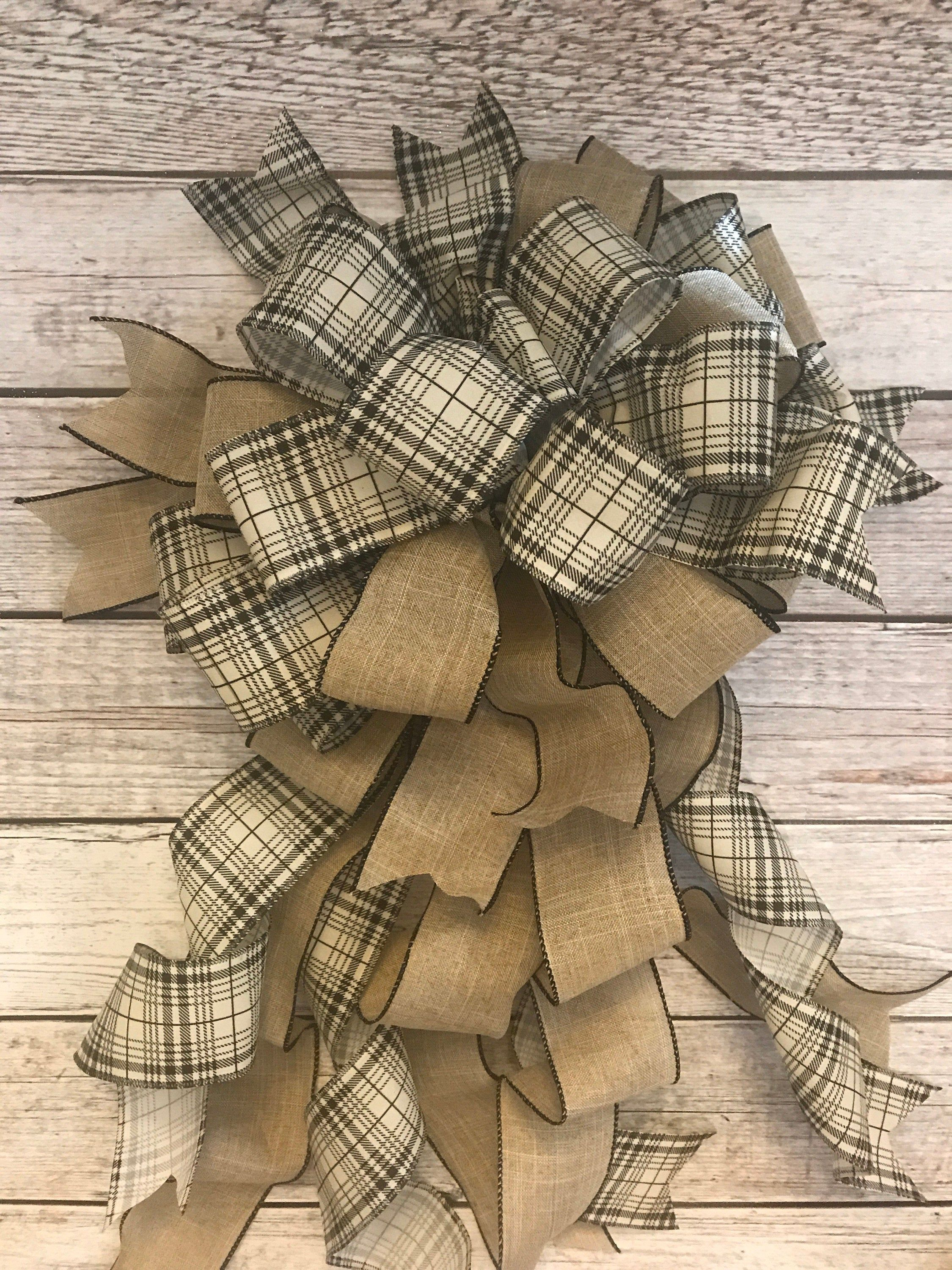 Large Black and White Plaid Burlap Rustic Farmhouse Christmas Bow for Wreath, Tree Topper, Mailbox or Swag -   14 rustic christmas tree topper burlap bows ideas