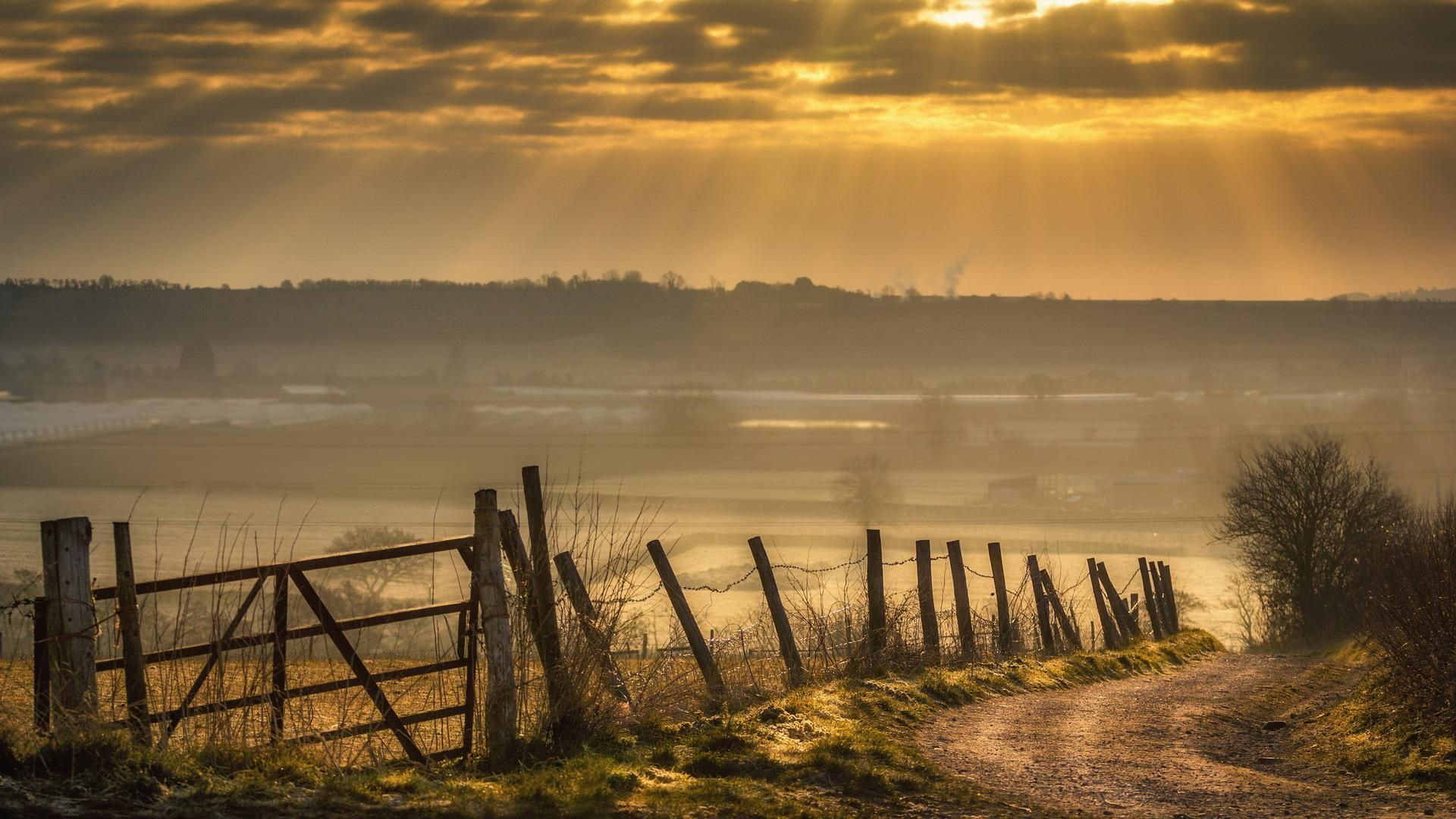 The Misty Country Side Scenery Wallpaper Country Backgrounds Country Roads