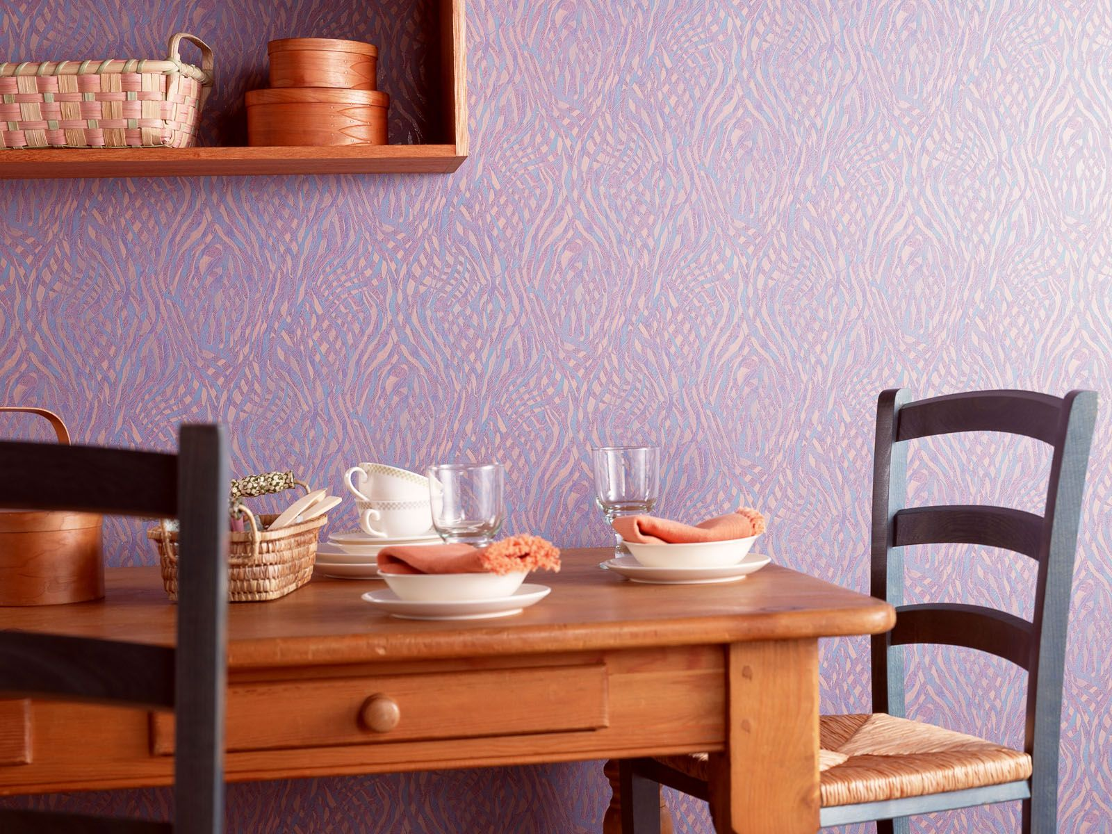 Dining Set With Pastel Wallpaper Background