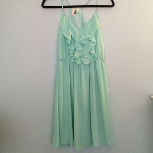 Mint ruffle dress Beautiful Tiffany Blue/mint dress with ruffle detail on the front. Adjustable straps. Only worn once. Francesca's Collections Dresses Mini