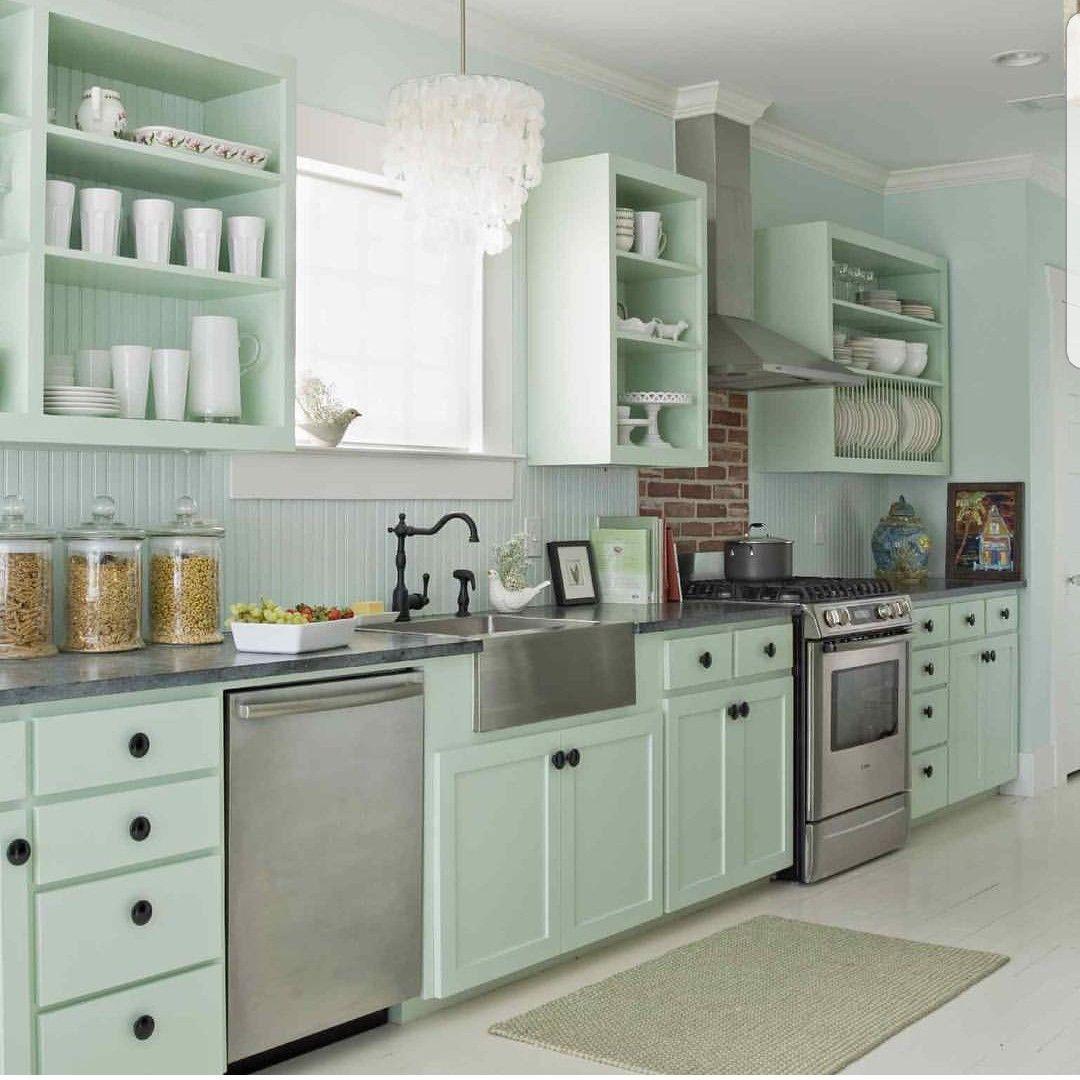 Simple Cottage Style Kitchen Green Kitchen Cabinets Green Kitchen Designs