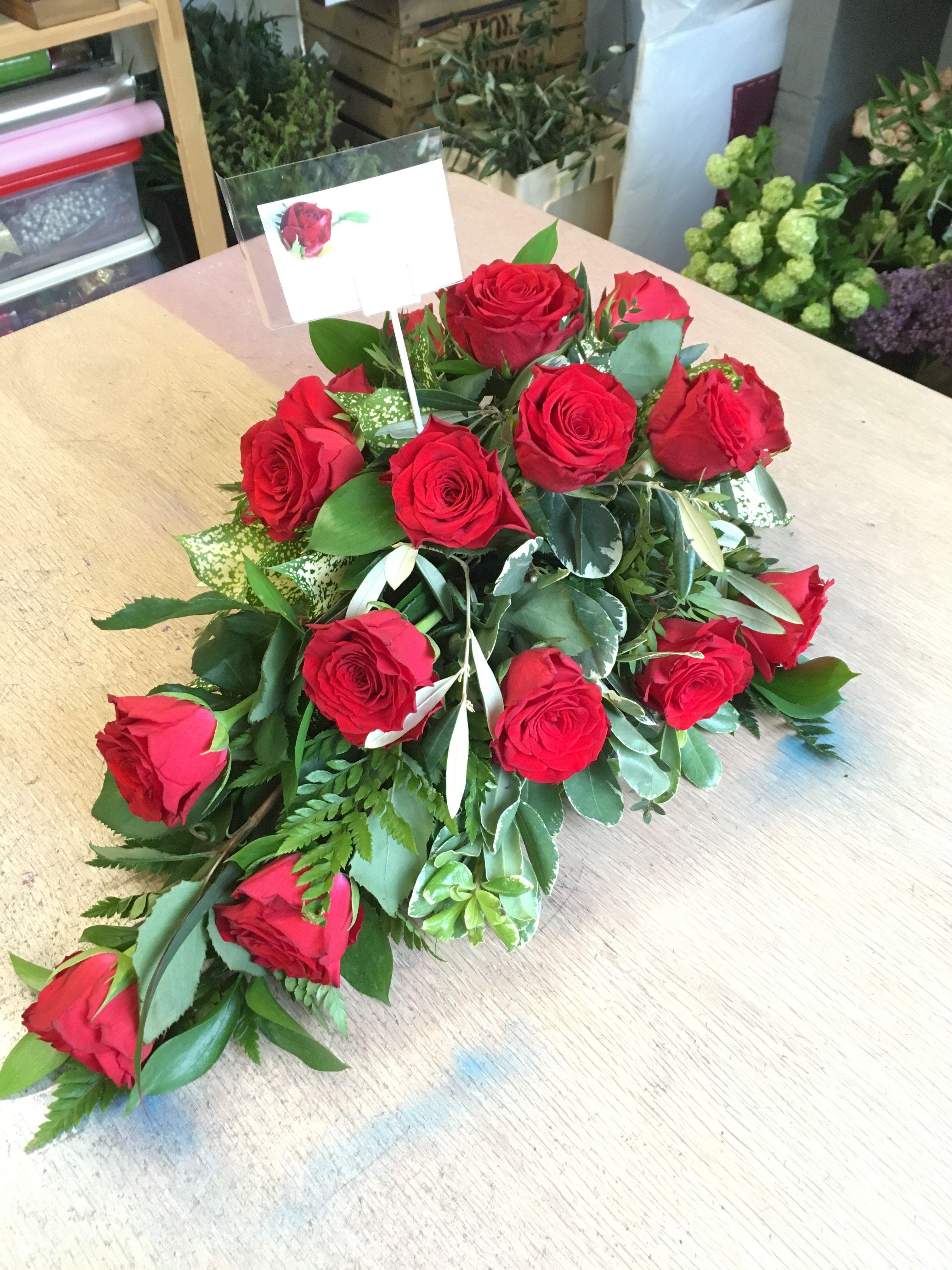 Premium all rose traditional single ended funeral spray approx premium all rose traditional single ended funeral spray approx 50cms choice of colours izmirmasajfo
