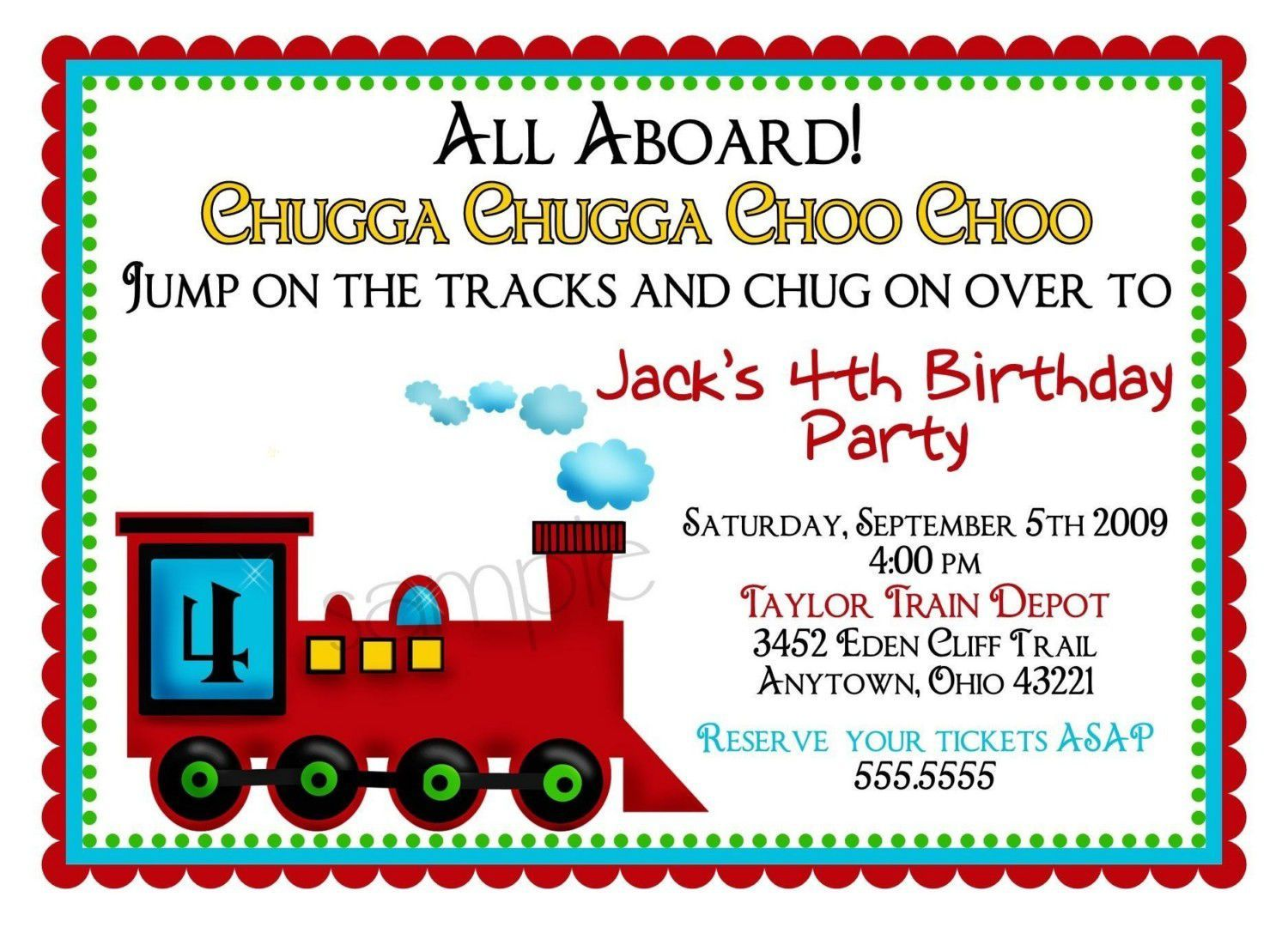 Train Birthday Invitations With Picture