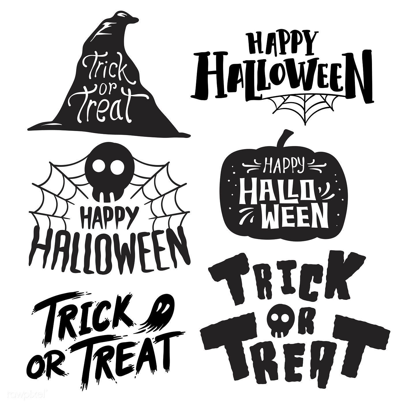 Set of Happy Halloween vectors free image by