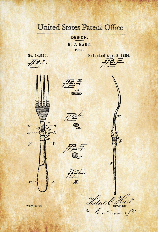 1884 Fork Patent – Kitchen Decor, Restaurant Decor, Patent Print ...