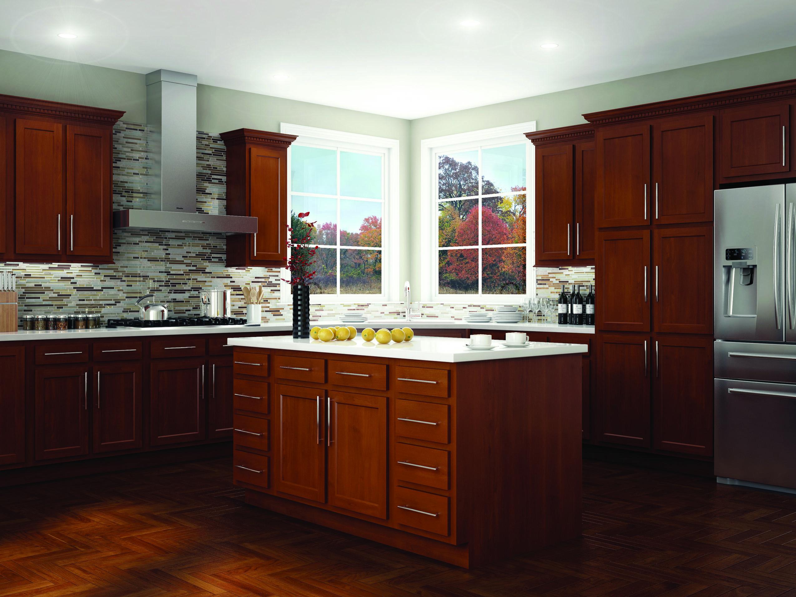 Kitchen Kompact Glenwood Beech Cabinets | Menards kitchen ...