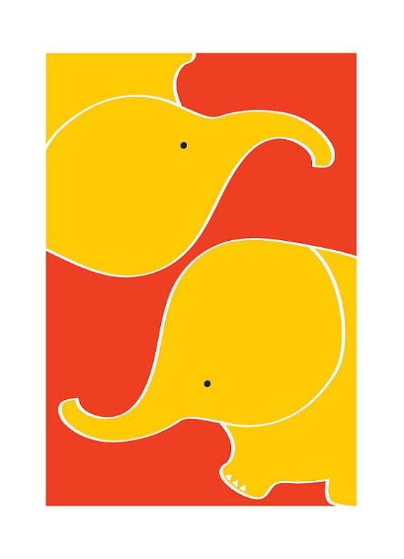 Elephants Art - Animal art Personalized Custom Color Baby Children ...