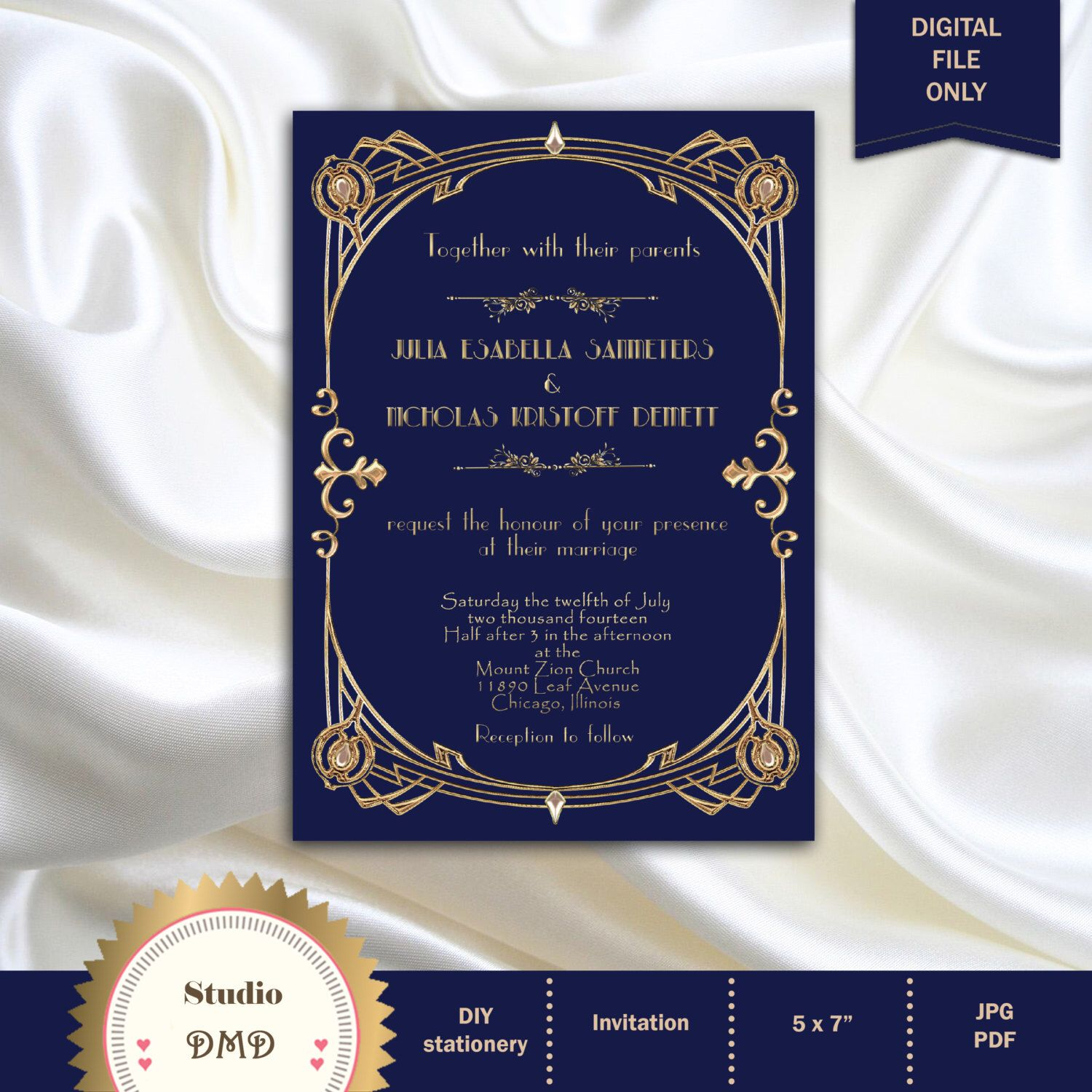 Great Gatsby Style Art Deco Wedding Invitation Roaring Twenties