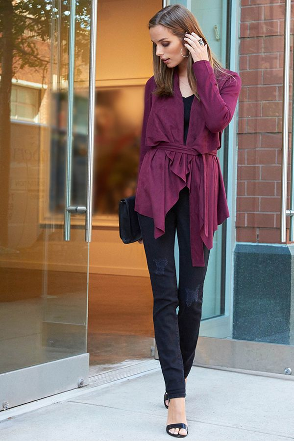 Burgundy is the new black this fall. Pair this drapey wrap sweater ...